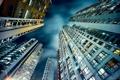 Картинка небо, ночь, город, вверх, дома, Гонконг, Азия