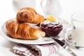 Картинка завтрак, сливки, cup, джем, круассаны, croissant, breakfast