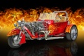 Картинка огонь, Ford, T-Bucket, Trike, трайк, Viper Red, трицикл