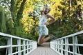Картинка природа, прыжок, мост, Milena D, радость