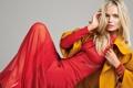 Картинка поза, модель, платье, блондинка, жакет, серый фон, Natasha Poly