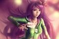 Картинка девушка, карта, арт, шляпка, уши, розовые волосы