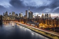 Картинка City, Skyline, New-York, River, Ligth, Nigth, Scape