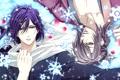 Картинка зима, снежинки, лепестки, сакура, шарф, парни, самураи