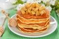 Картинка яблоки, еда, завтрак, тарелка, блины, варенье