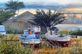 Картинка Bill Hudson, берег, деревья, акварель, море, яхты