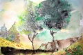 Картинка деревья, пейзаж, акварель