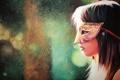 Картинка взгляд, девушка, лицо, волосы, огоньки, маска, губы