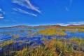 Картинка небо, трава, облака, горы, озеро