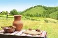Картинка пейзаж, ложка, кувшин, трава, холмы, домик, ограда
