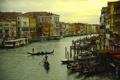Картинка солнце, облака, дома, Италия, Венеция, гондолы, Гранд-канал