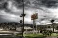 Картинка мотель, город, горы, Motel, пальмы.