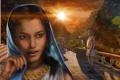 Картинка девушка, украшения, закат, горы, лицо, холмы, арт