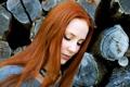 Картинка лицо, волосы, ожерелье, певица, рыжая, Simone Simons, вокалистка