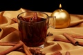 Картинка чай, свеча, чашка, ткань, корица, стеклянная, золотая