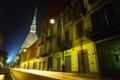 Картинка ночь, огни, улица, здания, Италия, светильники, Турин
