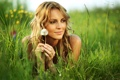 Картинка трава, взгляд, девушка, природа, улыбка, одуванчик, растения