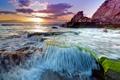 Картинка море, волны, солнце, облака, камни, скалы