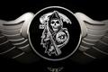 Картинка смерть, оружие, логотип, коса, сериал, sons of anarchy