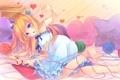 Картинка девушка, кровать, подушки, арт, сердечки, нить, клубки