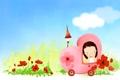 Картинка фонарик, автомобиль, улыбка, облака, детские обои, девочка, цветы