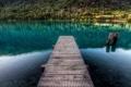 Картинка природа, озеро, камни, мостик, гадка