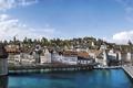 Картинка мост, река, дома, Швейцария, набережная, Lucerne