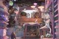 Картинка девушка, рыбы, лампы, коты, растения, аниме, арт