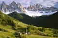 Картинка лес, горы, дома