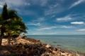Картинка море, пляж, небо, камни, пальмы, Океан, Тайланд