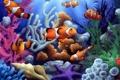 Картинка рыбки, ракушка, кораллы, морская звезда, под водой