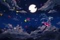 Картинка небо, звезды, облака, радость, бумага, луна, арт