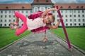 Картинка радость, прыжок, девочка, школьница