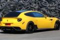 Картинка желтый, фон, Феррари, Ferrari, шины, суперкар, вид сзади
