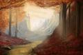 Картинка осень, лес, небо, листья, деревья, замок, тропа