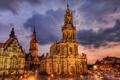 Картинка ночь, огни, дома, Германия, Дрезден, площадь, hdr