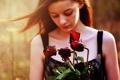 Картинка девушка, цветы, настроение, розы