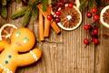 Картинка ягоды, лимон, Рождество, сладости, корица, пряник