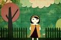 Картинка девушка, облака, деревья, птицы, забор, Печворк