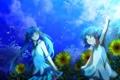 Картинка небо, девушка, звезды, облака, деревья, подсолнухи, цветы