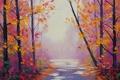 Картинка осень, деревья, парк, арт, дорожка, artsaus