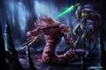 Картинка арт, монстры, пещера, битва