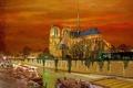 Картинка небо, птицы, огни, река, Франция, Париж, вечер