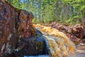Картинка лес, деревья, река, скалы, поток, США, viskonsin