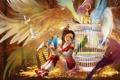 Картинка девушка, деревья, птицы, крылья, аниме, перья, арт
