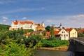 Картинка мост, город, река, фото, дома, Германия, Кольдиц