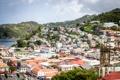 Картинка холмы, Гренада, море, побережье, деревья, поселок, остров
