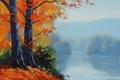 Картинка рисунок, арт, artsaus, autumn-lake-prints
