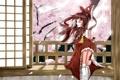 Картинка девушка, комната, ветер, сакура, арт, балкон, touhou
