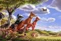Картинка лес, животные, деревья, скала, сова, птица, заяц
